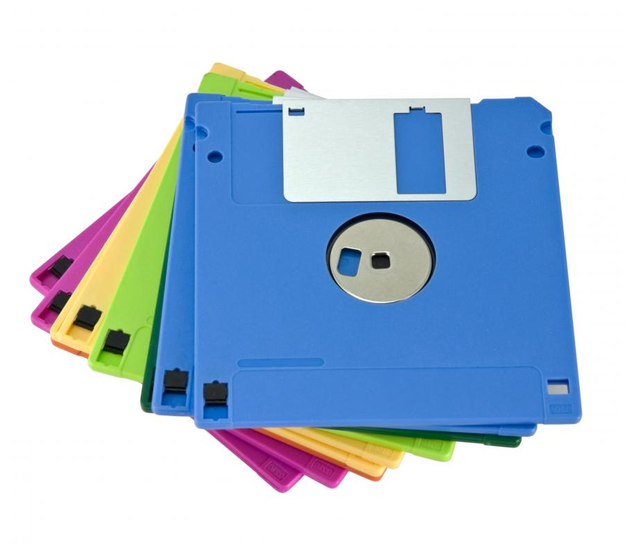 Small amounts of data might be stored on a floppy disk.