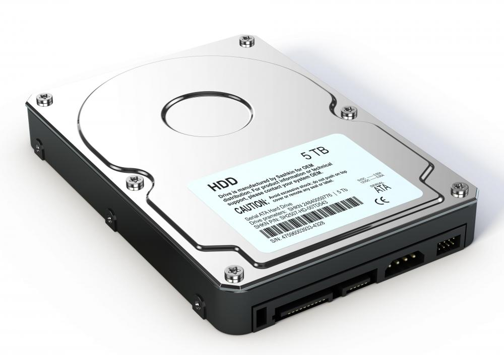 A hard disk drive, a form of secondary storage.