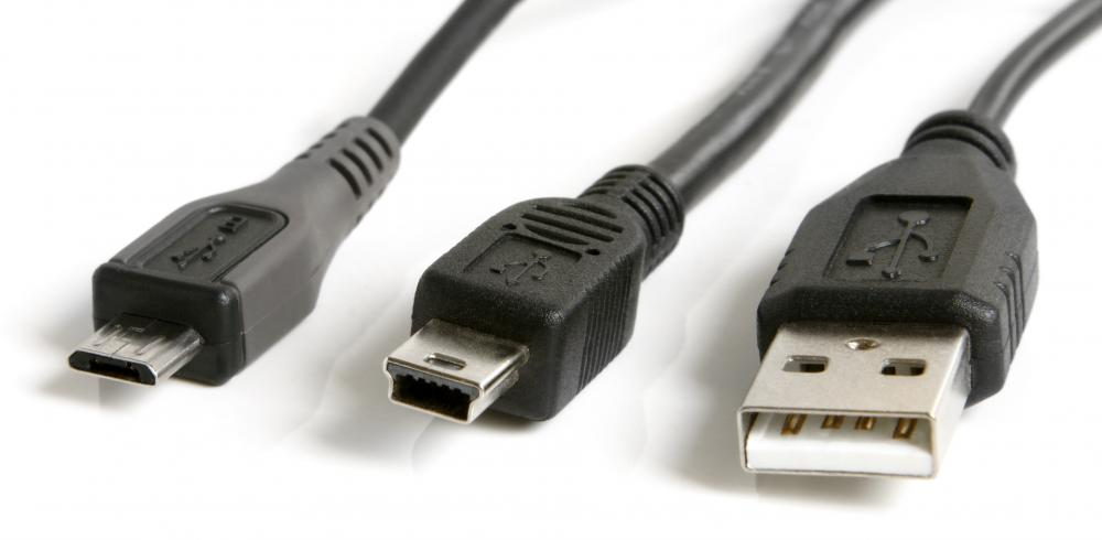 A variety of USB cables, including micro-USB, mini-USB, and standard USB.