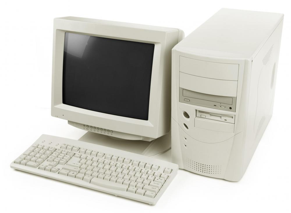 Early desktop computers had large, bulky monitors.