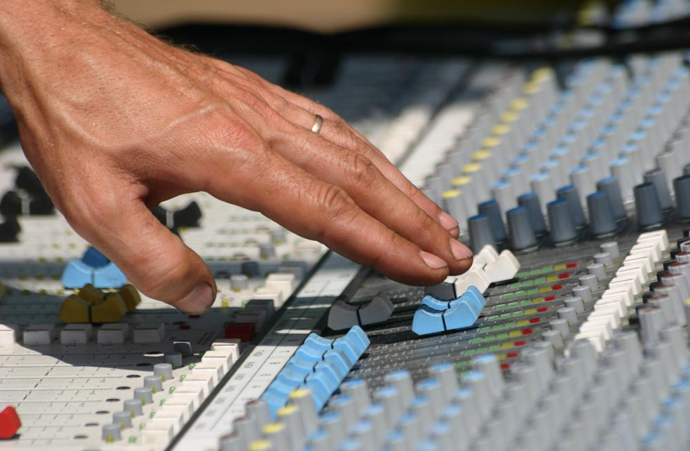 Sound editing software might replicate functions of a physical mixing board.