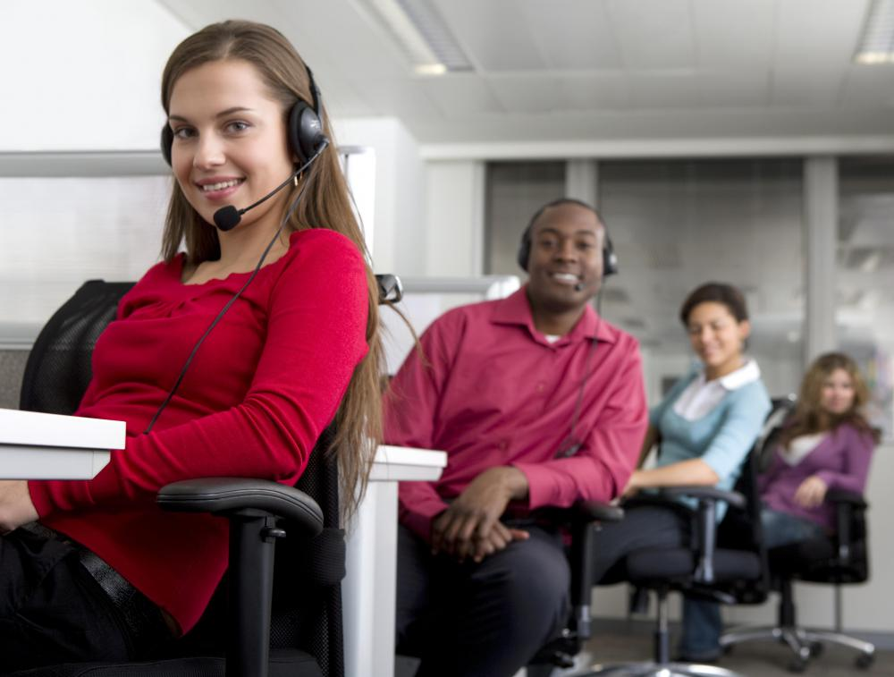 Many call centers provide headsets for their employees so their hands are free to type and utilize the computer in front of them.