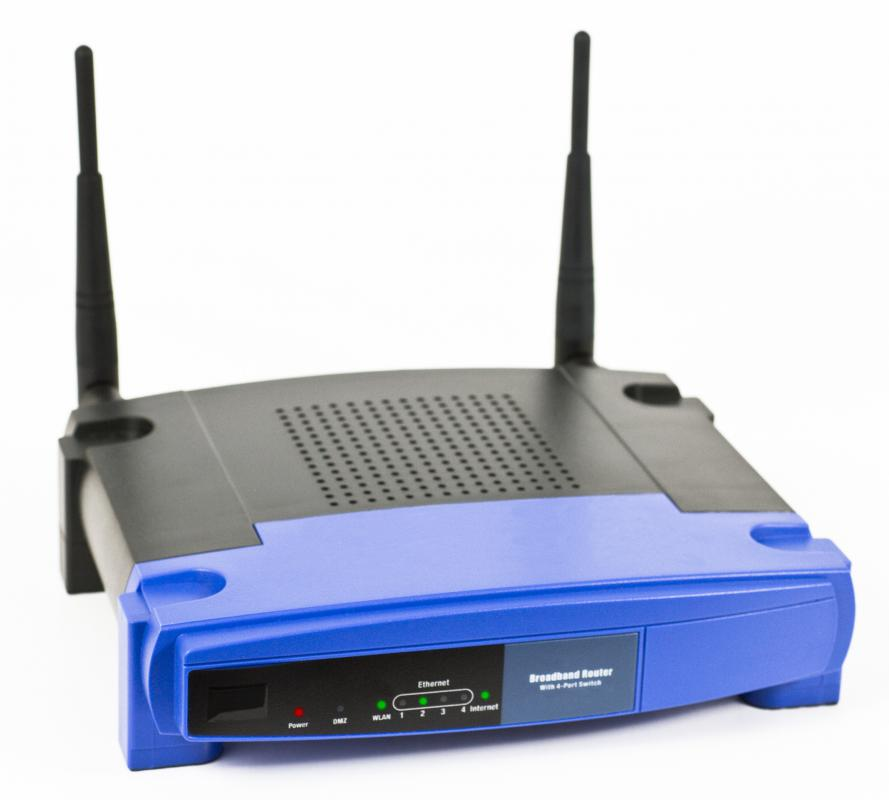 A wireless router, which interacts with a network adapter.