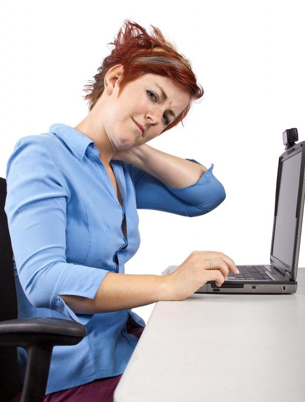 An ergonomic computer chair can help prevent slouching and health issues, like neck strain, often experienced by computer workers.